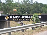 Southern Miss name and logo painted on a bridge.