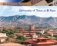 Campus rooftop buildings of Spanish architecture are in the foreground of mountains in the desert with teh words Geological Sciences University of Texas at El Paso written across the top in blue.