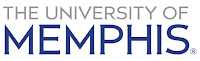 Gray and blue text of The University of Memphis with a white background.
