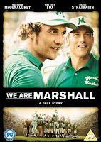 Movie poster for the film We Are Marshall featuring images of actors Matthew McConaughey and Matthew Fox above a picture of the football team huddled in a celebration.