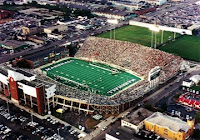 Aerial view of the Marshall University football stadium during a game.