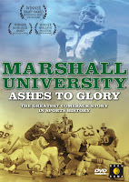 Movie poster for the independent film Marshall University Ashes to Glory depicting hazy images of football players clashing on the field.