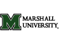 Marshall University black text with a trademark green logo M against a white background.