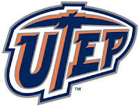 White background with blue letters UTEP with orange and white borders.  Letter T is the shape of a miners pick axe.