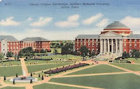Historic painting of Southern Methodist University campus.