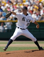 Rice baseball pitcher throws.