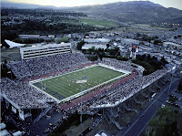 Nevada, Reno football stadium overhead view.