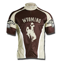 University of Wyoming bike jersey.