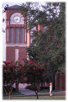 Clock tower with trees on LA Tech university campus.