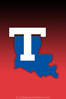 Louisiana Tech logo with white T and blue state of Louisiana shape and red background.