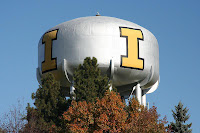 University of Idaho yellow I on water tower.