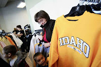 Yellow Idaho sweatshirt in campus bookstore.