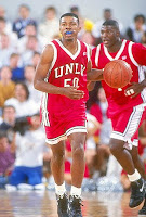 UNLV basketball player dribbling.