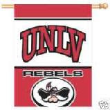 UNLV flag with the word Rebels and mascot head.