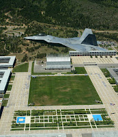 Fighter plane over AFA campus in Colorado.