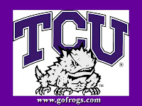 TCU Frogs purple bordered computer wallpaper.