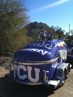 TCU purple horned frogs trailer.