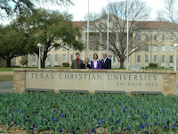 Texas Christian University welcome sign on campus.