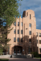 Tall brick building on the University of Wyoming campus.