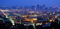 Night time aerial view of the city lights of Birmingham, Alabama.