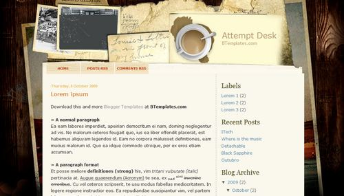 Attempt Desk Blogger Toolbox: Fresh, Free and Stunning Blogger Templates
