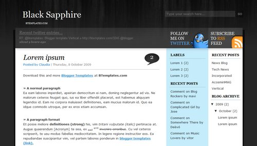 Black Sapphire Blogger Toolbox: Fresh, Free and Stunning Blogger Templates
