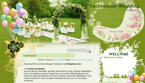 Technicolor Wedding Blogger Toolbox: Fresh, Free and Stunning Blogger Templates