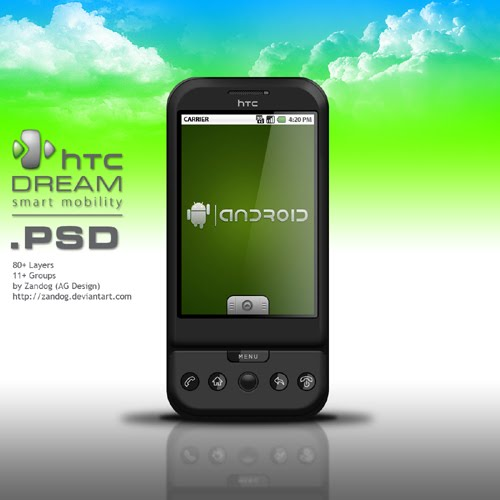 HTC Dream Android  PSD by zandog Google Nexus One, Android GUI PSD Packs For Designers