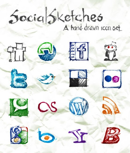 Social+Sketches+Exclusive+Free+Hand Sketched+Icon+Set 10 Fresh and Unique High Quality Social Network Icon Sets