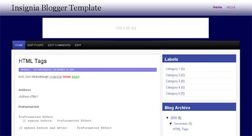 Insignia Huge Compilation of Best Blogger Templates Released in 2010 | Blogspot Toolbox