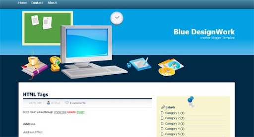 Blue+Designwork Huge Compilation of Best Blogger Templates Released in 2010 | Blogspot Toolbox