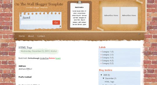 On+The+Wall Huge Compilation of Best Blogger Templates Released in 2010 | Blogspot Toolbox