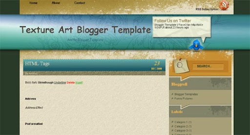 Texture+Art Huge Compilation of Best Blogger Templates Released in 2010 | Blogspot Toolbox