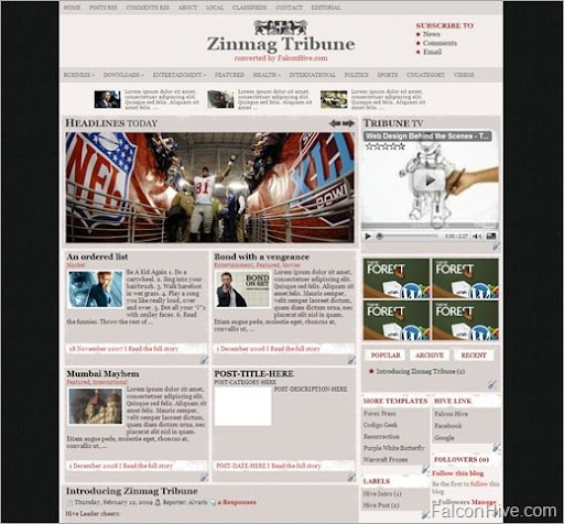 Zinmag+Tribune blogger Roundup Of Best Blogger Templates