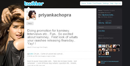 Priyanka Chopra bollywood actress Twitter profile