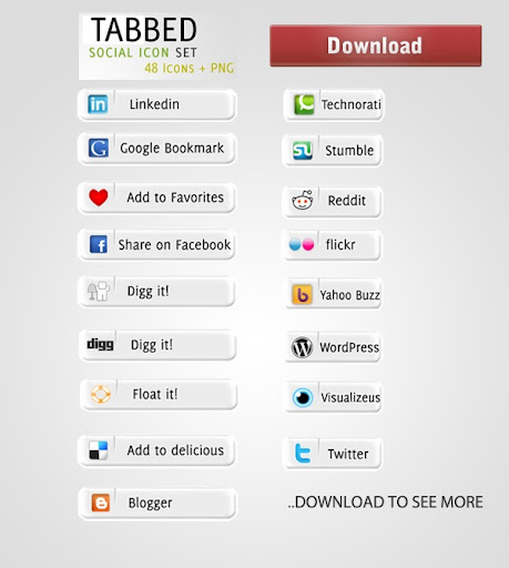 tabbedsoicialiconset Social Network Icons Reloaded