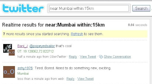 near+mumbai Some Lesser known Twitter Search Tricks
