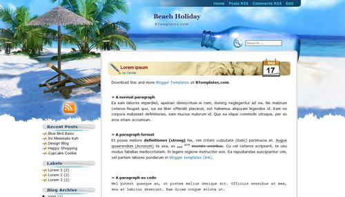Beach Holiday 40+ New and Fresh Blogger Templates