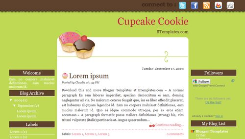 Cupcake Cookie 40+ New and Fresh Blogger Templates