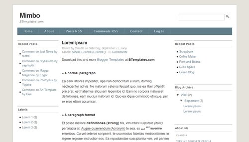 Mimbo 40+ New and Fresh Blogger Templates