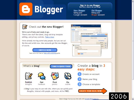 2006 Blogger Platform Over the Years (Pictures) (1999   2009)