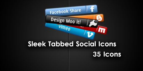 Sleek Tabbed Social Icons