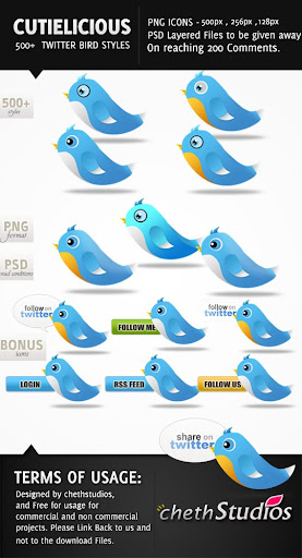 Cutielicious+Twitter+Bird+Icons Free PSDs Give Away: High Resolution Twitter Bird Icons