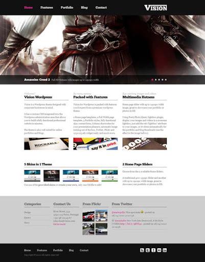 vision Fresh Premium Wordpress Themes Designed in 2010