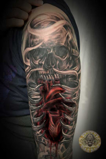 Heart Skull Armsleeve prog 13 by 2Face Tattoo Incredible Tattoo Designs and Body Art to Inspire You