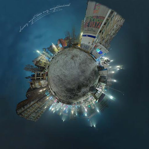 Snowy night   Tiny Planet v1 by vxside Mesmerising Planet Panoramic Photography