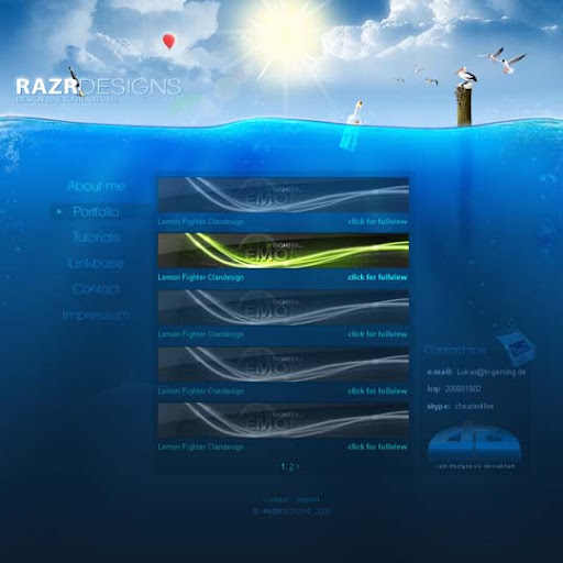 Under Water Portfolio by razr designs 40 Gorgeous Portfolio Web Interface Designs You Must See