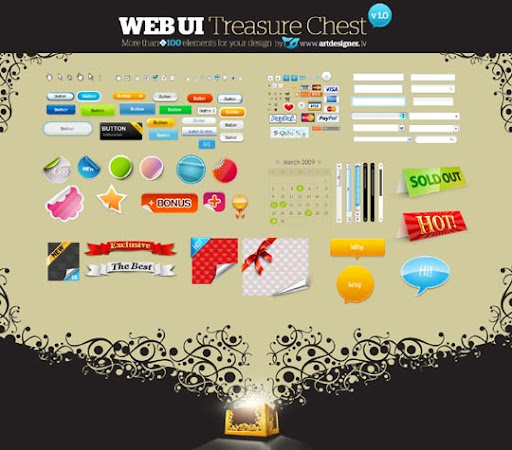 WEB UI TreasureChest v1 Useful Free Web UI Elements PSD Packs