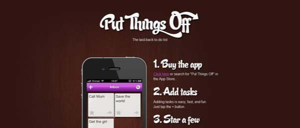 Put+Things+Off Best Examples of iPhone Apps Websites Designs