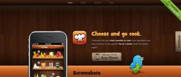 Cookmate Best Examples of iPhone Apps Websites Designs